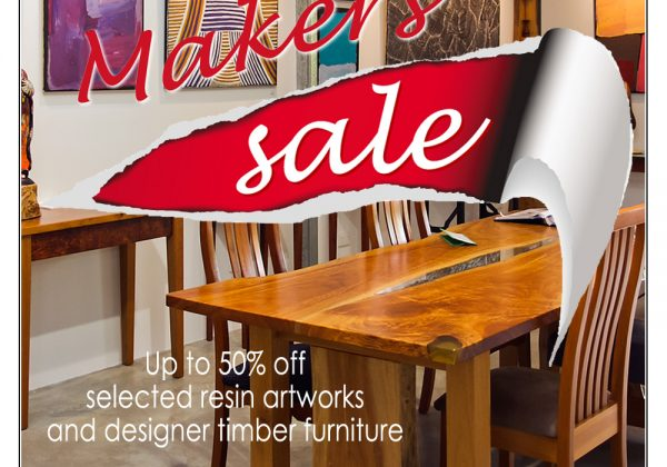 Up to 50% off selected resin artworks and designer timber furniture for a limited time only