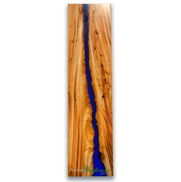 ART621A Australian Camphor Laurel wall art with transparent vivid blue resin panel