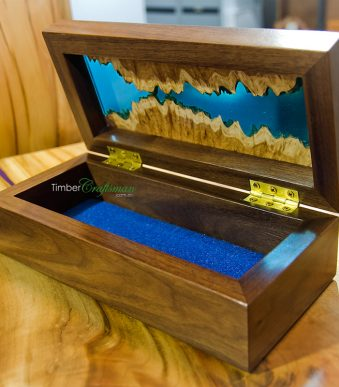 4032 Designer Keepsake Box Series featuring Queensland Walnut and Mallee Burl handcrafted in Eumundi by David Suters Timbercraftsman