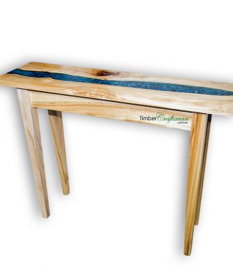848 Australian Camphor Laurel Console Table featuring River Pebbles embedded in transparent blue epoxy resin handcrafted in Eumundi by David Suters Timbercraftsman