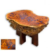 Solid River Red Gum Burl Coffee Table eaturing Sapphire Blue Resin Infills handcrafted in Eumundi by David Suters Timbercraftsman