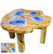 Australian Camphor Laurel Coffee Table featuring Opal Blue Epoxy Resin Infills handcrafted in Eumundi by David Suters Timbercraftsman