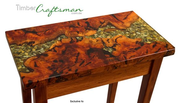 844 #2 River Red Gum Burl with River Pebble and Chrysocolla in Resin Inlay