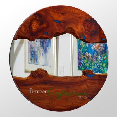 710-1 Summer Series Australian Red Cedar Shield Mirror featuring Sapphire Blue Pearl Resin by David Suters Timbercraftsman