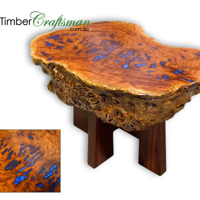 854 Solid Timber Burl Coffee Table featuring Sapphire Blue Pearl Resin Infills