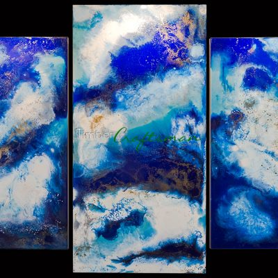 5008 Commissioned Triptych in Blue by David Suters Timbercraftsman