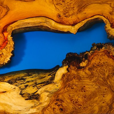 Wood, Water and Stone Series - Amboyna Burls embedded in transparent blue resin by David Suters Timbercraftsman