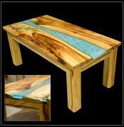 856 Camphor Laurel Coffee Table featuring Tumbled Quartz Stone and Transparent Blue Resin Seam