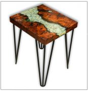 857A River Red Gum Side Table featuring tumbled quartz stone inlay and transparent pale brilliant blue seam